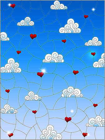 Illustration in stained glass style with a background image of the sky, clouds and hearts on a blue sky background Çizim