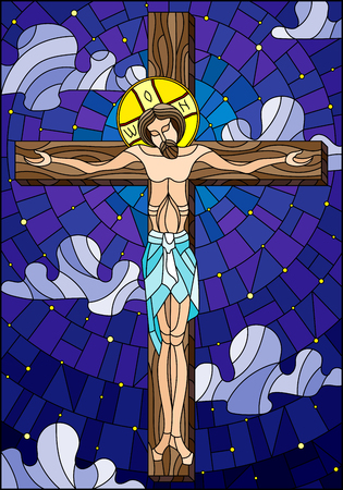 Illustration in stained glass style on the biblical theme, Jesus Christ on the cross against the cloudy sky and the stars
