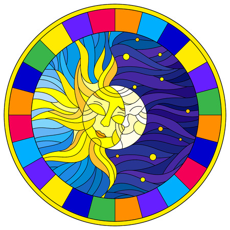 Illustration in stained glass style , abstract sun and moon in the sky,round image in bright frame Vector Illustration