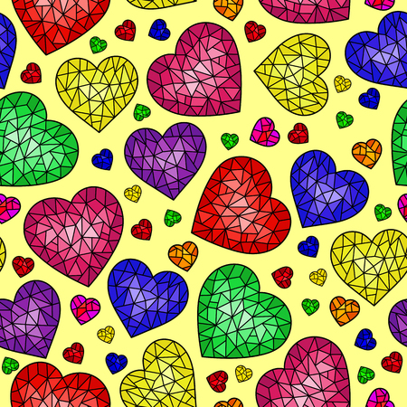 Seamless pattern with abstract cracked hearts, bright colored hearts on yellow background Illustration