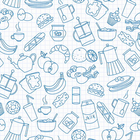 Seamless pattern on theme of food and breakfast , simple contour icons,blue  contour  icons on the clean writing-book sheet in a cage background