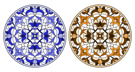 Set of illustrations in stained glass style with round floral arrangements, blue and brown tone