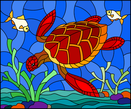 Illustration in stained glass style with red  sea turtle on the seabed background with algae, fish and stones Çizim