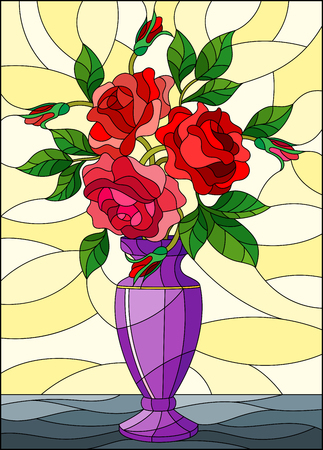 Illustration in stained glass style with floral still life, colorful bouquet of red roses in a purple vase on a yellow background