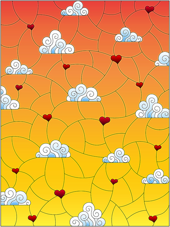 Illustration in stained glass style with a background image of the sky, clouds and hearts on a orange  sky background