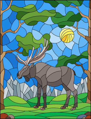Illustration in stained glass style with wild moose on the background of trees, mountains and sky  イラスト・ベクター素材