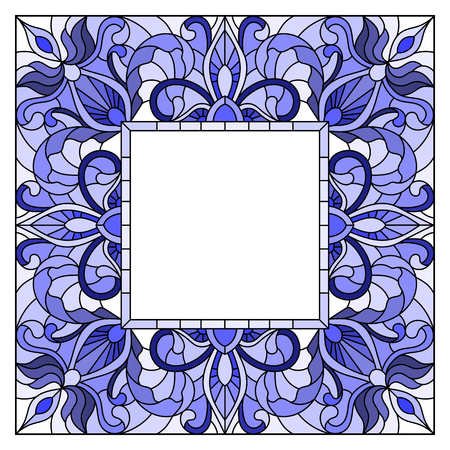 Illustration in stained glass style flower frame, blue   flowers and  leaves in  frame on a white background Illustration
