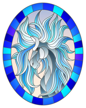 Illustration in stained glass style with abstract white  horse on a sky background framed in oval picture