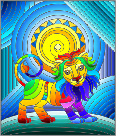 Illustration in stained glass style with funny rainbow lion and sun on abstract background