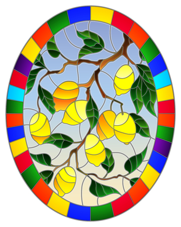 Illustration in stained glass style with lemon branches, leaves and fruits on sky background , oval image in bright frame