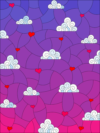 Illustration in stained glass style with a background image of the sky, clouds and hearts on a  sky background Çizim