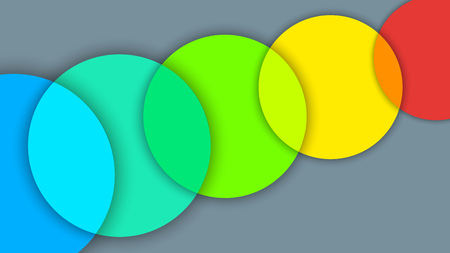 Abstract background with different levels surfaces and  rainbow circles, material design