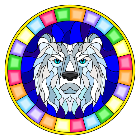 The illustration in stained glass style painting with a with polar bear head , on blue background, round image in bright frame