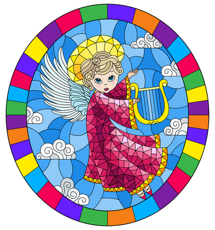 Illustration in stained glass style with cartoon in pink dress angel playing the harp against the cloudy sky,, round image in bright frame