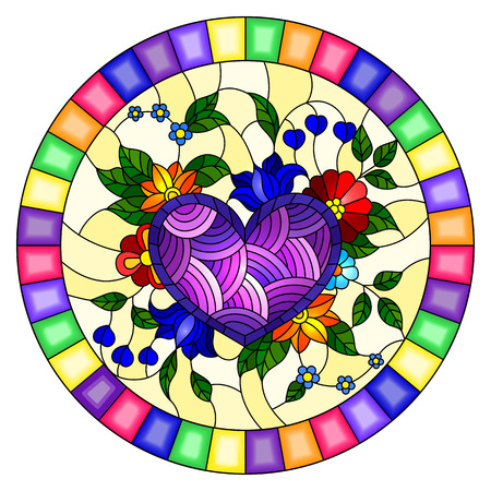Illustration in stained glass style with abstract purple heart and flowers on yellow  background in a bright frame,round image