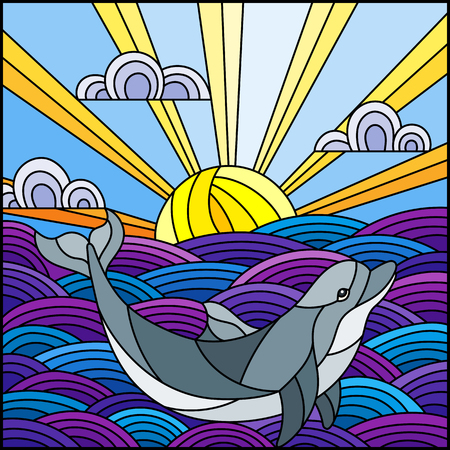 Illustration in stained glass style dolphin into the waves, Sunny sky and clouds, square image