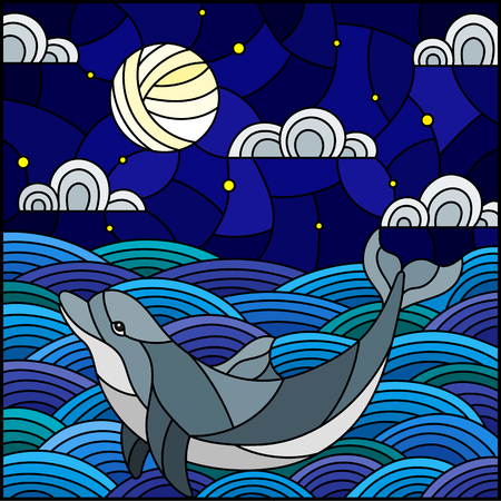 Illustration in stained glass style dolphin into the waves, starry sky,moon and clouds, square image Vector Illustration