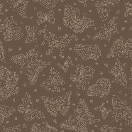 Seamless pattern with outline butterflies and flowers, the beige outline on a brown background