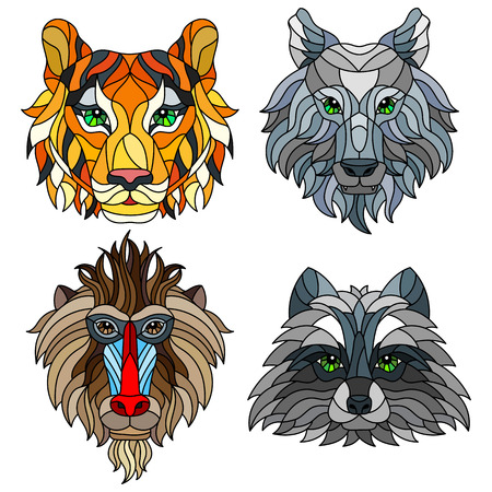 A set of stained glass items, stained glass with animal heads, a wolf, a tiger, a monkey and a raccoon, isolates on white background  イラスト・ベクター素材