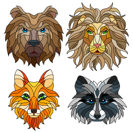 A set of stained glass items, stained glass with animal heads, a Fox, a lion, a bear and a raccoon, isolates on white background