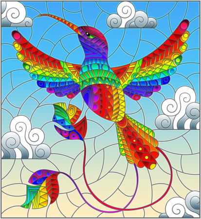 Illustration in stained glass style with rainbow abstract Hummingbird bird flying against the sky and clouds Stock Illustratie