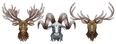 A set of stained glass items, stained glass with animal heads, a deer,  a elk and a RAM, isolates on white background Illustration