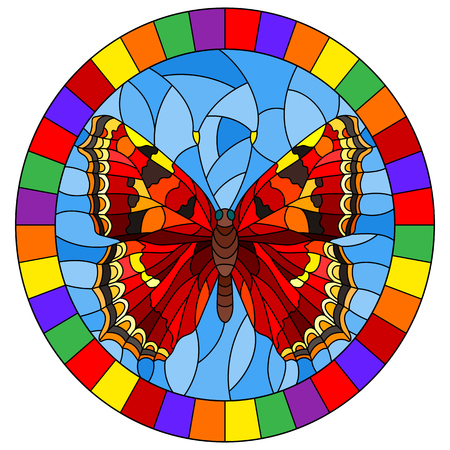 Illustration in stained glass style with bright red  butterfly on a blue background, oval picture  in a bright frame