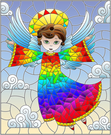Illustration in stained glass style with cartoon rainbow angel  against the cloudy sky Illustration