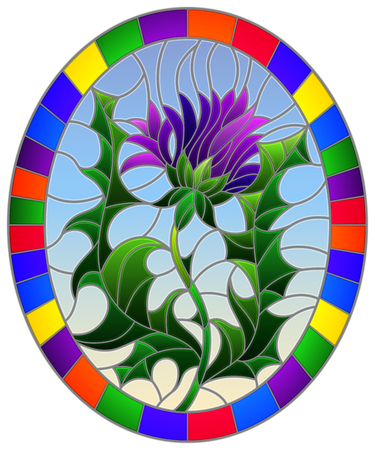 Illustration in stained glass style flower of a purple flower on a blue background, oval image in bright frame