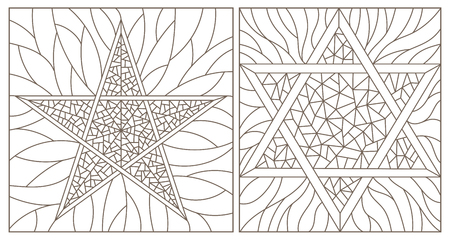 Set of contour illustrations of stained-glass Windows with stars, dark contours on a white background