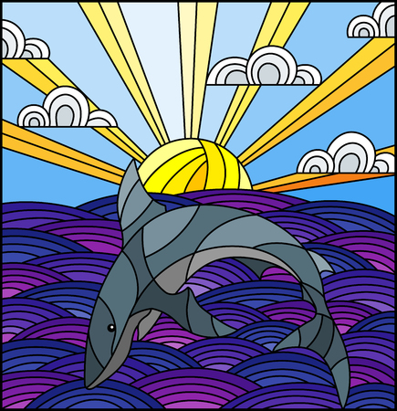 Illustration in stained glass style shark into the waves, Sunny sky and clouds
