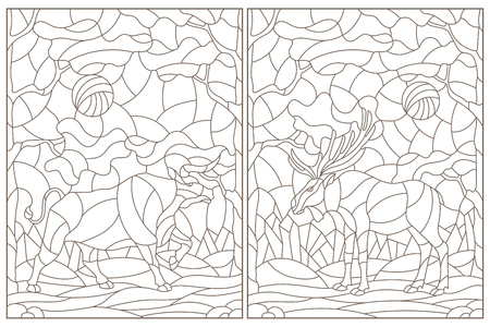 Set of contour illustrations of stained glass Windows with wild bull and moose on a background of forest landscape, dark contours on a white background