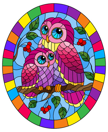 Illustration in stained glass style with fairy pink owl and owlet on a tree branch with leaves and berries against the sky in bright frame