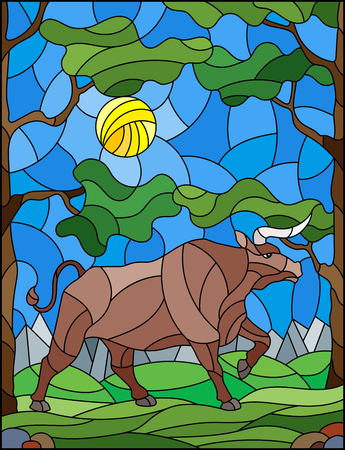 Illustration in stained glass style with wild bull on the background of trees, mountains and sky 向量圖像