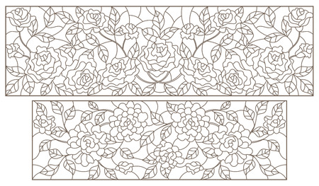 Set of contour stained glass illustrations with floral arrangements and roses, dark outlines on a white background,  horizontal oriented  イラスト・ベクター素材