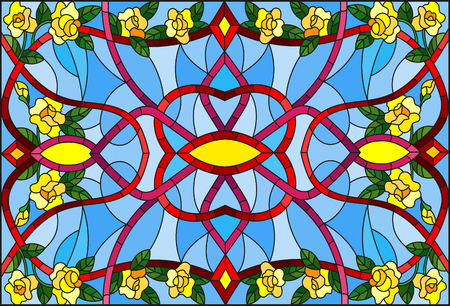 Illustration in stained glass style with abstract  swirls,flowers of yellow roses  and leaves  on a blue background,horizontal orientation