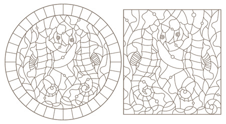 Set contour illustrations of stained glass with sea horses on a background of seaweed, dark outlines on white background, rectangular and oval images Illustration