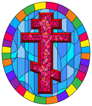 Illustration in stained glass style with a pink  cross on an abstract blue background, oval picture frame in bright 向量圖像
