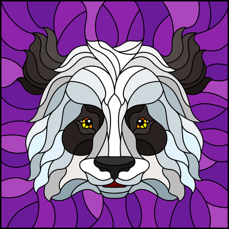 The illustration in stained glass style painting with a Panda bear head , on purple background, square image