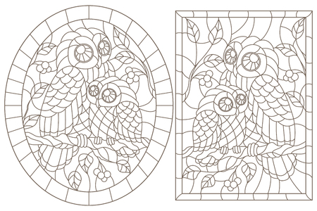 Set of contour illustrations with owls, dark contours on white background, oval  and rectangular image in the frame