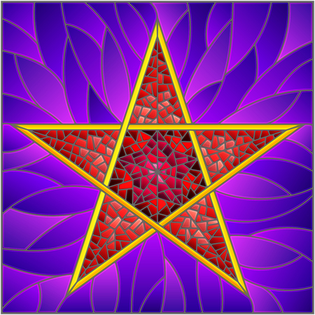 Illustration in stained glass style with abstract red five-pointed star on a purple  background