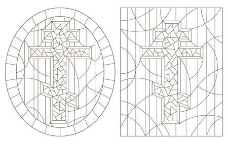 Set contour illustrations with Christian cross  ,black contour on white background