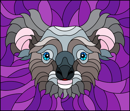 The illustration in stained glass style painting with a koala bear head , on purple background, square image