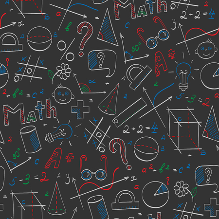 Seamless pattern on the theme of the school, of education and of the subject mathematics, the hand-drawn graphics, formulas, and icons colored chalks on the dark school Board
