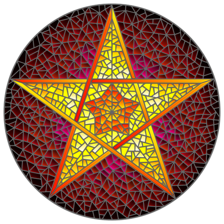 Illustration in stained glass style with abstract ryellow  five-pointed star on red background, round image