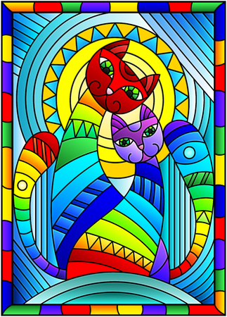 Illustration in stained glass style with a pair of abstract geometric rainbow cats on a blue background with sun in bright frame  Illustration