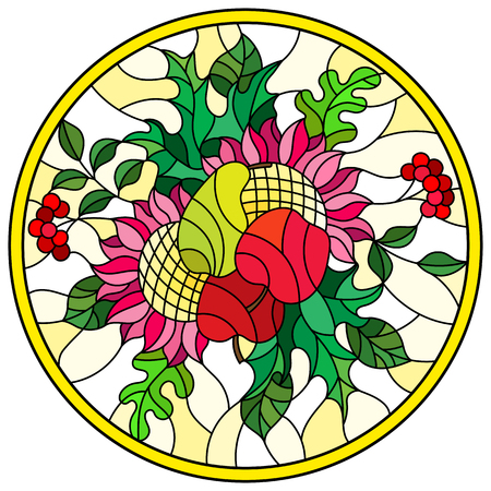 Illustration in stained glass style with autumn composition, bright leaves,flowers and fruits on yellow  background, round image