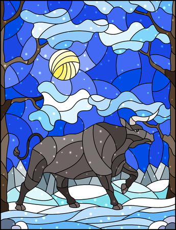 Illustration in stained glass style with wild bull on the background of trees, mountains , snow and sky