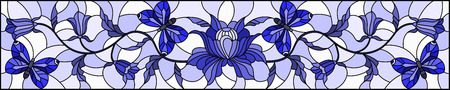 Illustration in stained glass style with abstract curly  flower and butterfly on light background , horizontal image, tone blue