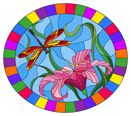 Illustration in stained glass style with bright dragonfly against the sky, foliage and flower of Lily, oval image in bright frame
